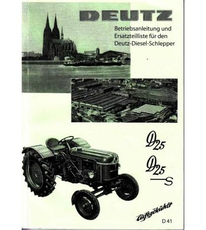 Betriebsanleitung und Ersatzteilliste für den Deutz-Diesel-Schlepper